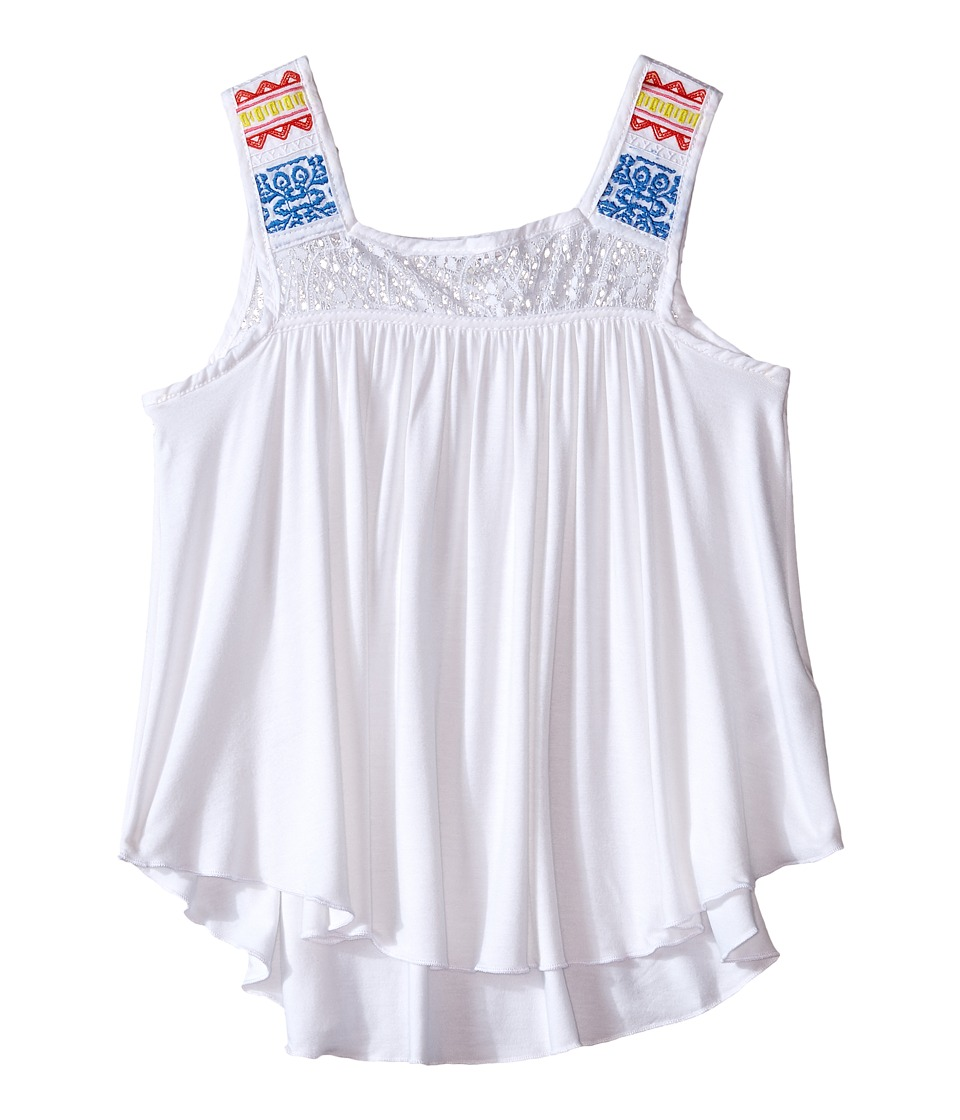 Ella Moss Girl - Bella Sleeveless Knit Top (Big Kids) (White) Girl's Sleeveless