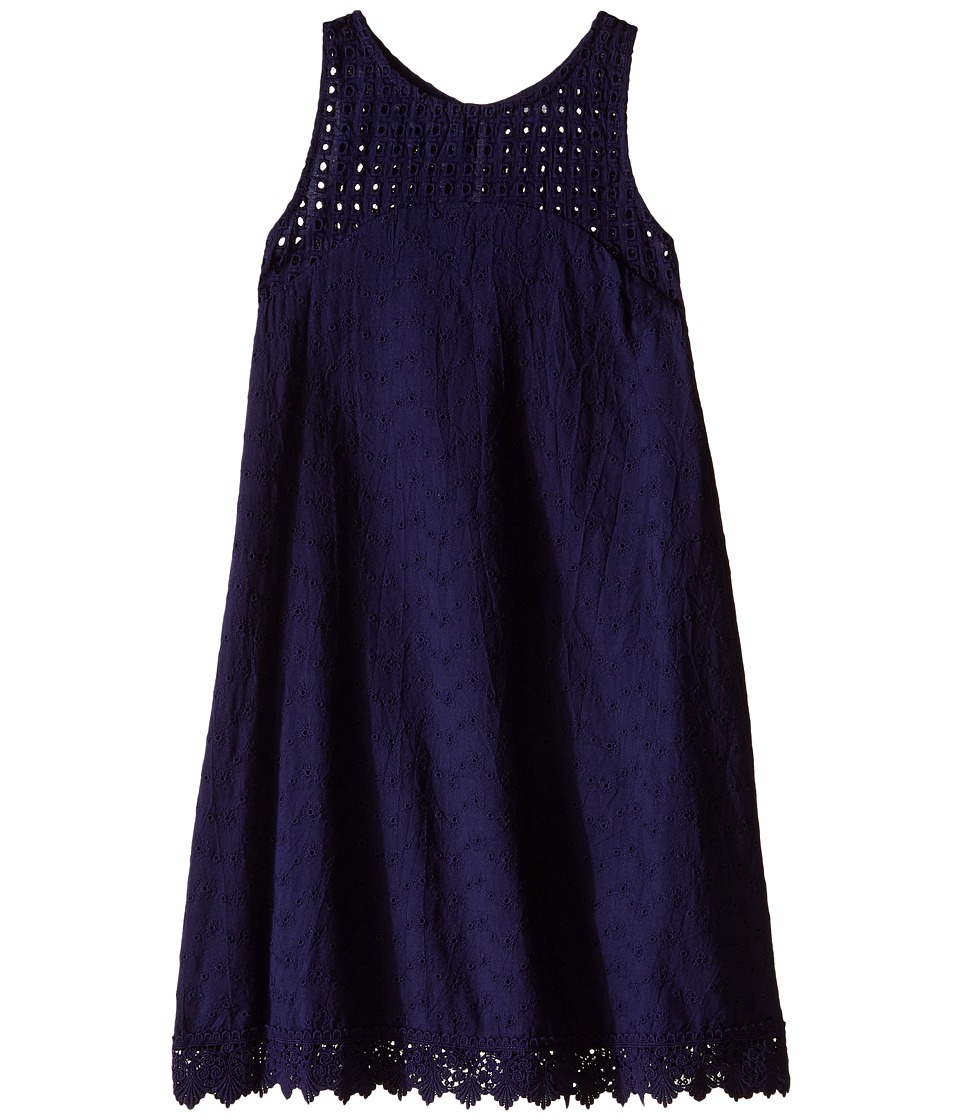 Ella Moss Girl - Susie Sleeveless Eyelet Dress (Big Kids) (Navy) Girl's Dress