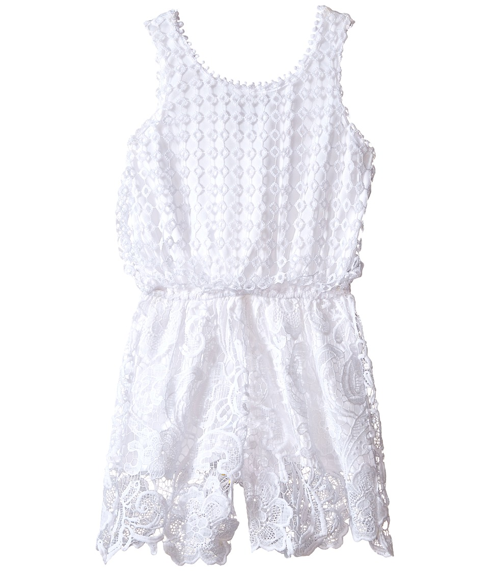 Ella Moss Girl - Alma Crochet Lace Romper (Big Kids) (White) Girl's Jumpsuit & Rompers One Piece