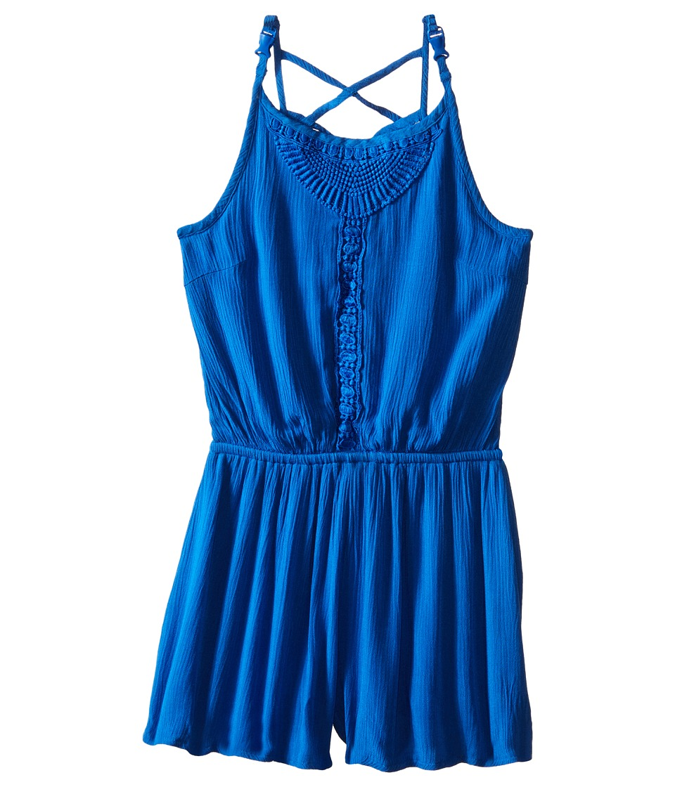 Ella Moss Girl - Ali Strappy Romper (Big Kids) (Blue) Girl's Jumpsuit & Rompers One Piece