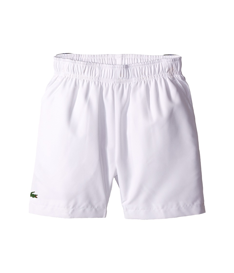 Lacoste Kids - Taffeta Tennis Shorts with Side Stripe (Little Kids/Big Kids) (White/Navy Blue/Royal Blue) Boy's Shorts
