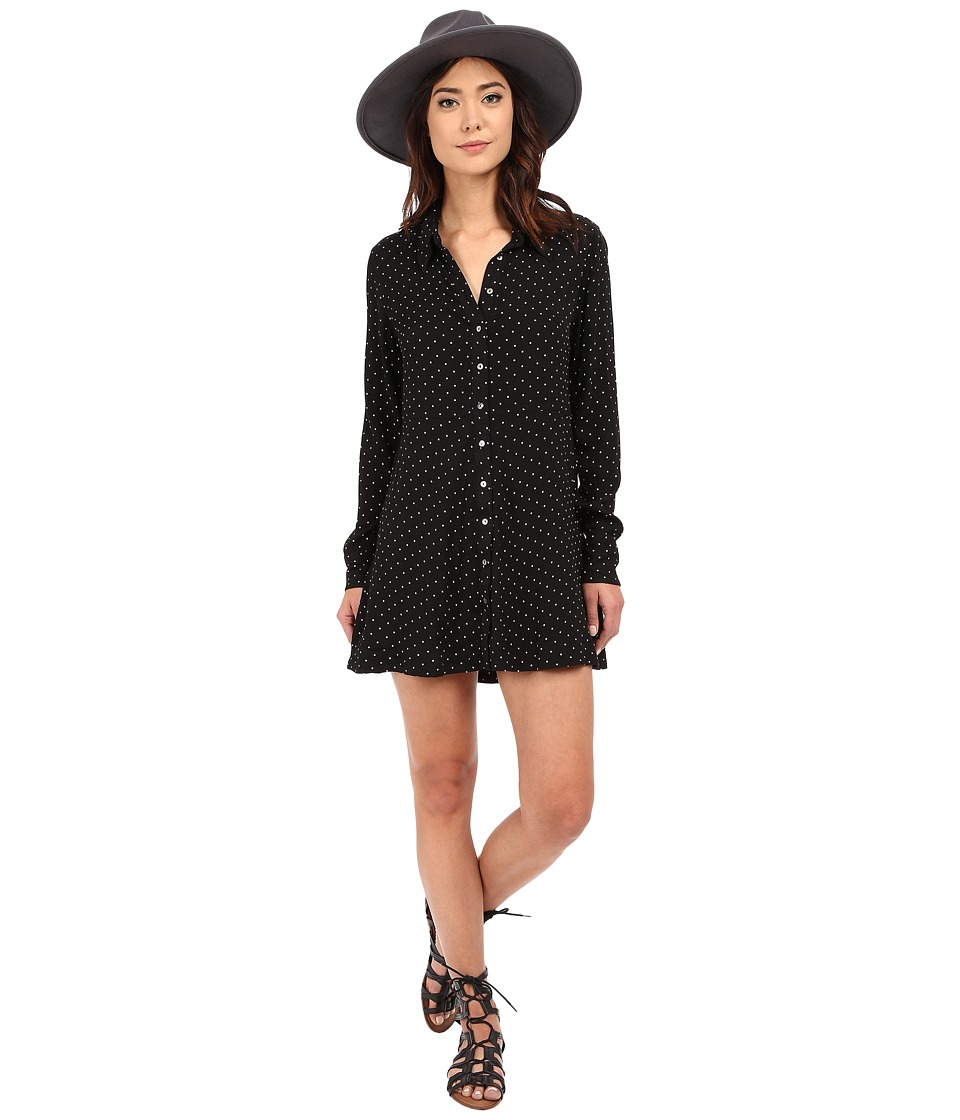 Free People - This Town Button Down (Black Combo) Women's Dress