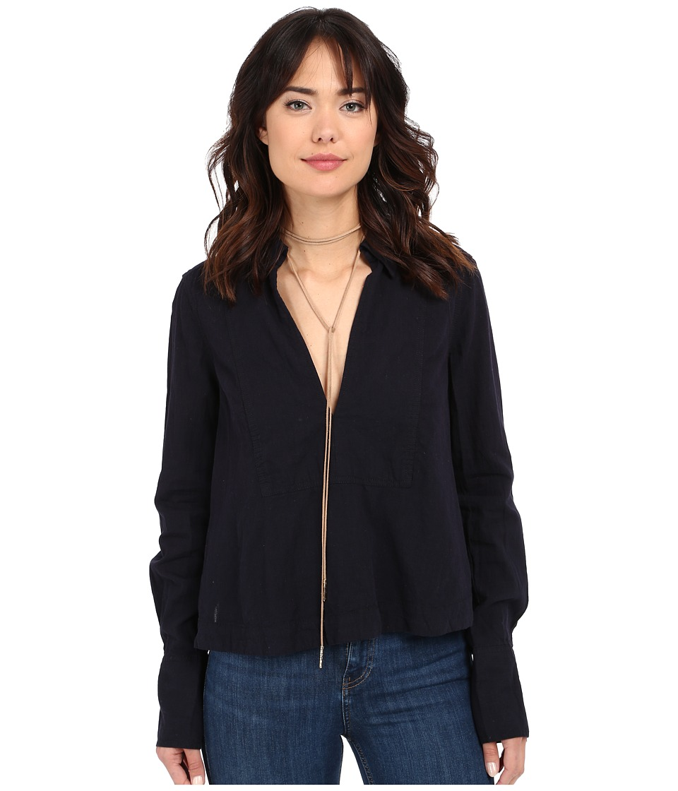Free People - Ready Or Not Top (Navy/Black Combo) Women's Long Sleeve Pullover