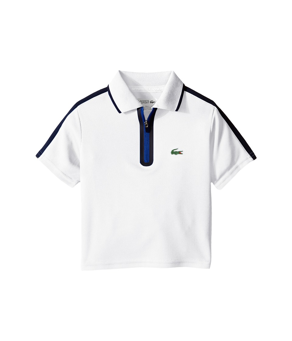 Lacoste Kids - Sport Short Sleeve Ultra Dry Polo with Zipper Placket (Toddler/Little Kids/Big Kids) (White/Navy Blue/Royal Blue) Boy's Short Sleeve Pullover