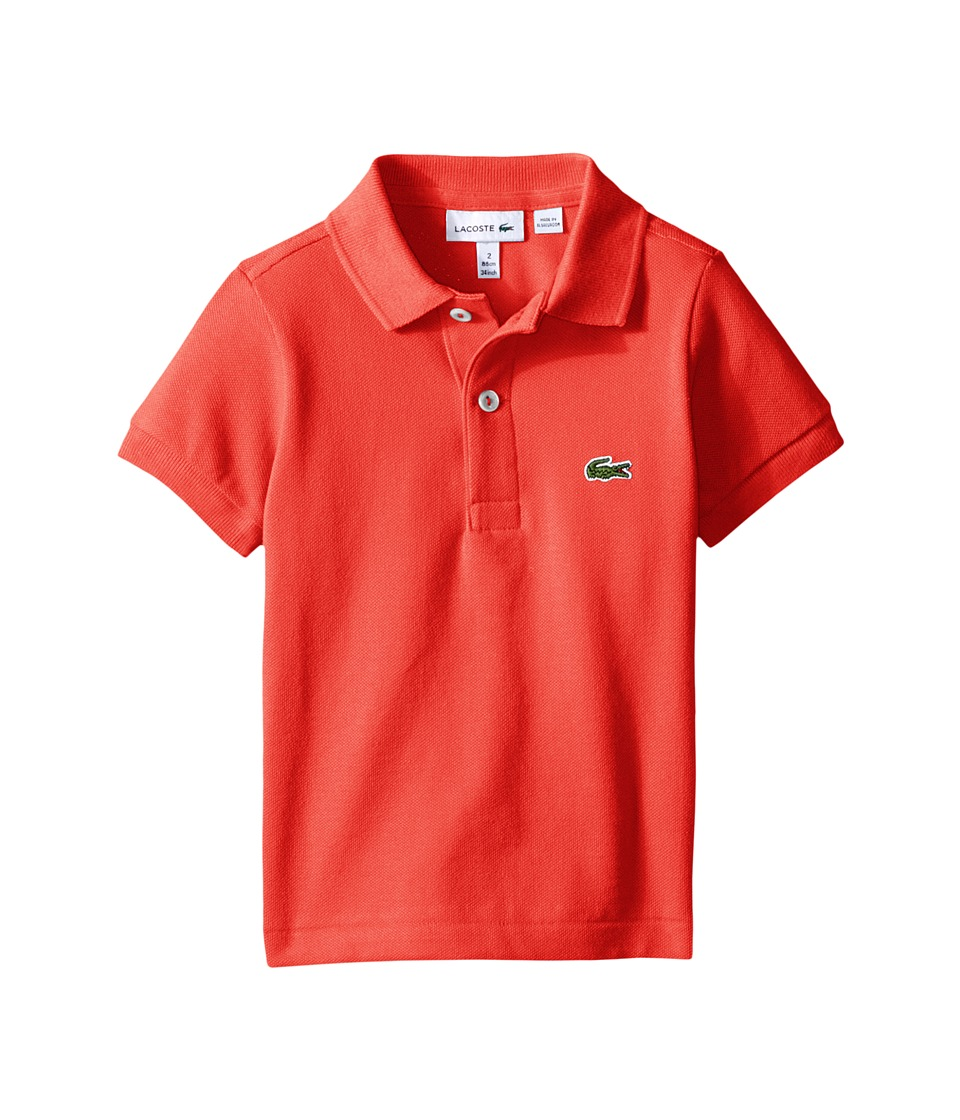 Lacoste Kids - Short Sleeve Classic Pique Polo Shirt (Toddler/Little Kids/Big Kids) (Mango Tree Red) Boy's Short Sleeve Pullover
