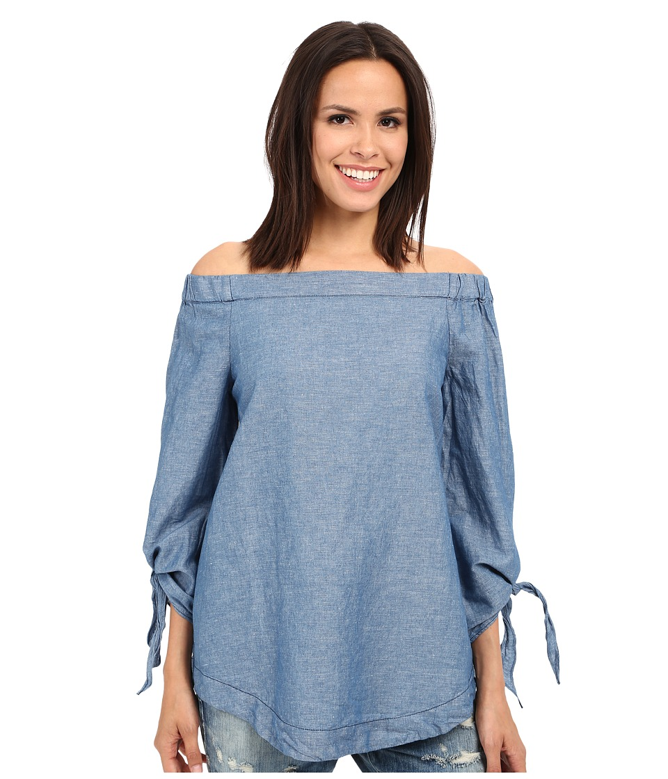 Free People - Show Some Shoulder Tunic (Chambray) Women's Blouse