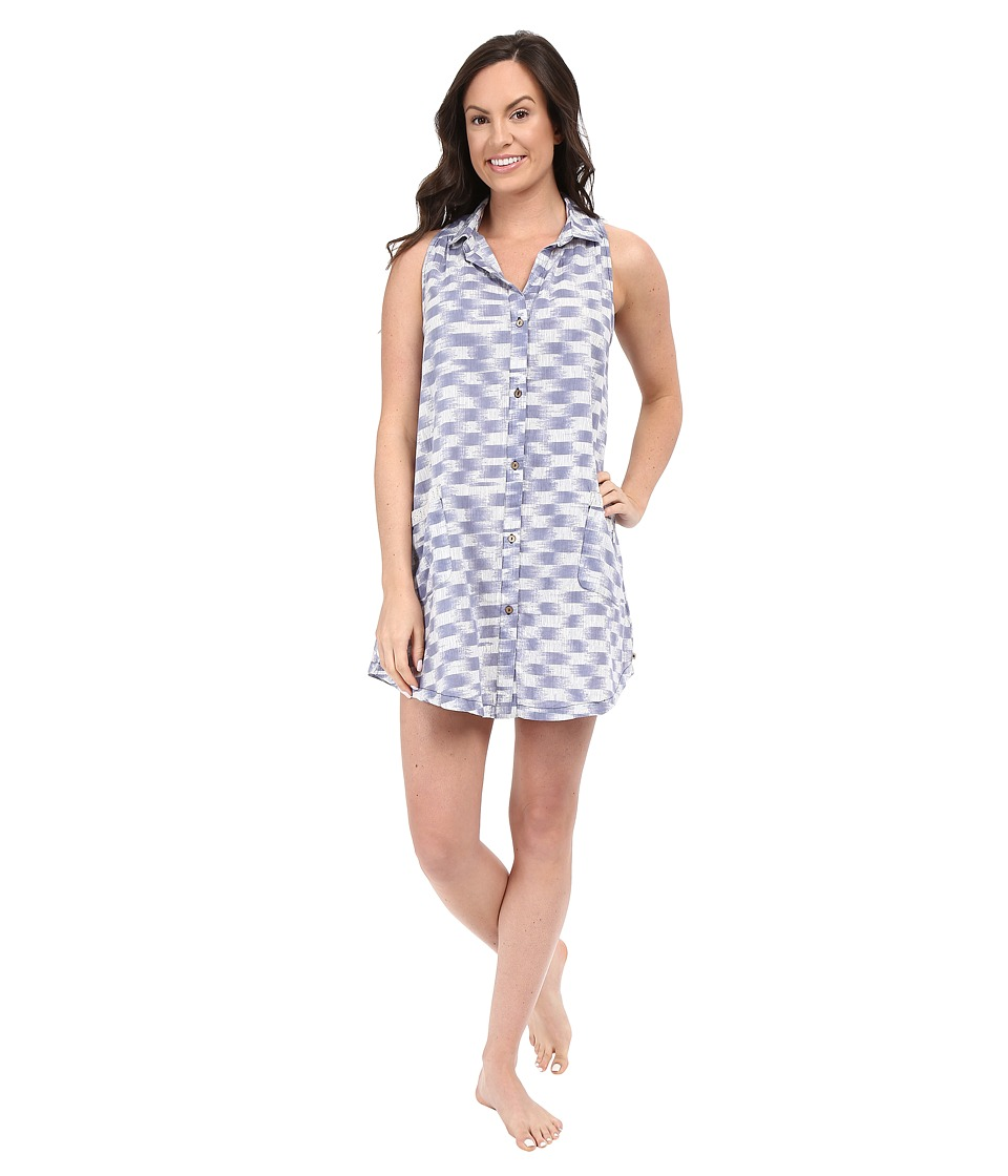 Lucky Brand - Button Down Sleep Shirt (Brush Strokes) Women