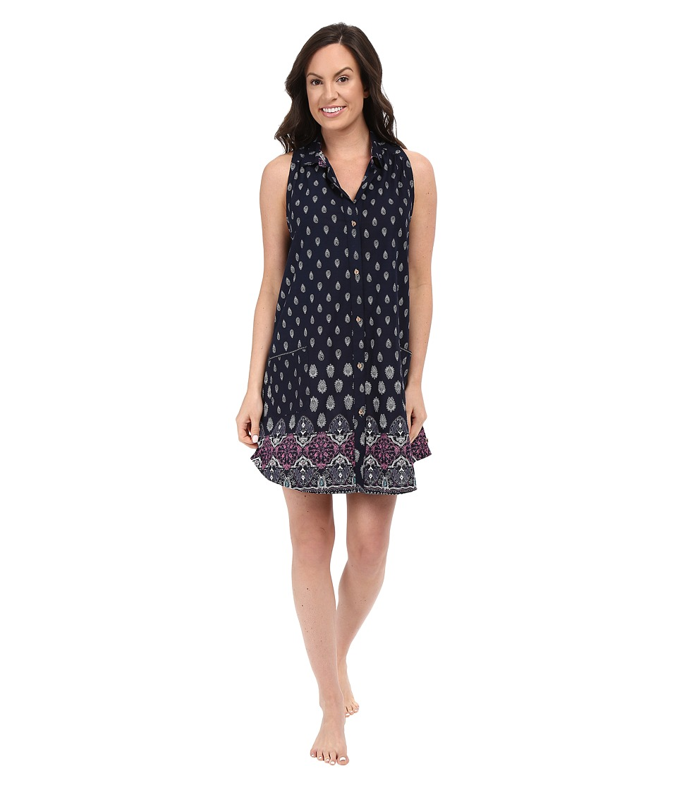 Lucky Brand - Button Down Sleep Shirt (Astral Border Indigo) Women