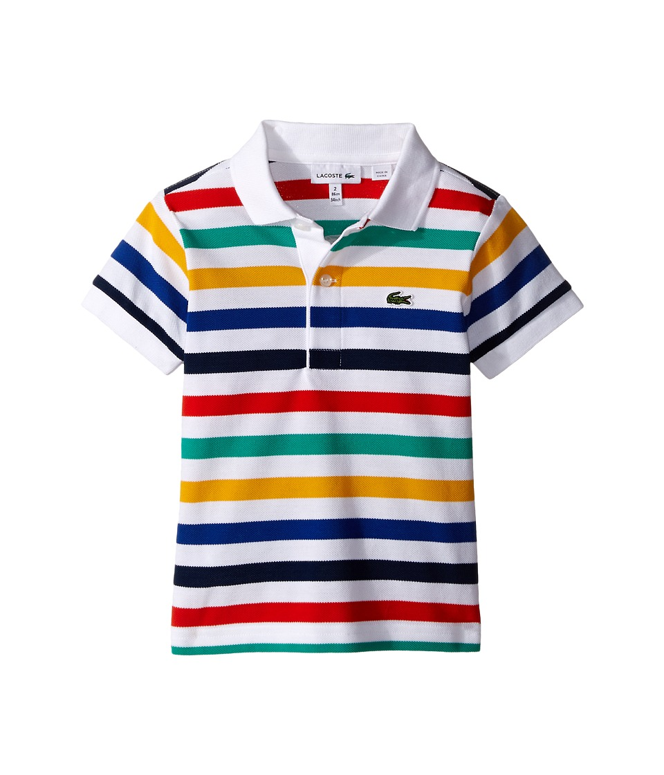 Lacoste Kids - Short Sleeve Striped Pique Polo (Toddler/Little Kids/Big Kids) (White/Ship/Aviator/Buttercup/Menthol/Etna Red) Boy's Short Sleeve Pullover