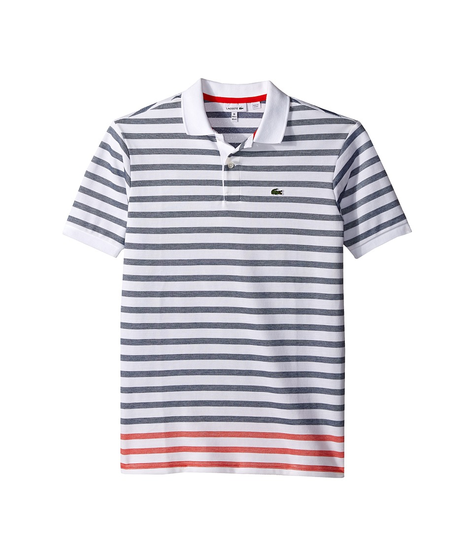 Lacoste Kids - Short Sleeve Oxford Stripe Pique Polo (Toddler/Little Kids/Big Kids) (White/Etna Red/Ship) Boy's Short Sleeve Pullover
