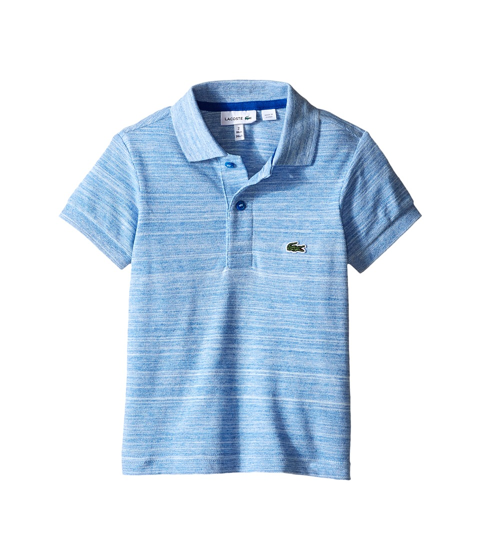 Lacoste Kids - Short Sleeve Blurred Lines Striped Polo with Red Buttons (Toddler/Little Kids/Big Kids) (Aviator) Boy's Short Sleeve Pullover