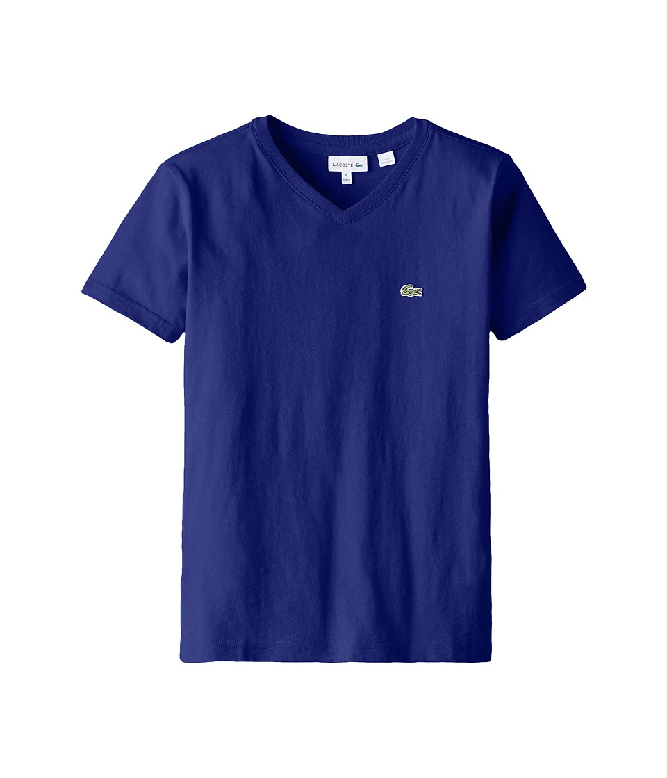 Lacoste Kids - S/S Classic Jersey V-Neck Tee (Toddler/Little Kids/Big Kids) (Aviator) Boy's Short Sleeve Pullover