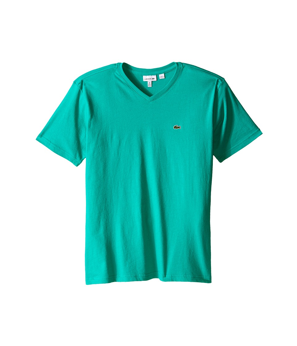 Lacoste Kids - S/S Classic Jersey V-Neck Tee (Toddler/Little Kids/Big Kids) (Menthol Green) Boy's Short Sleeve Pullover