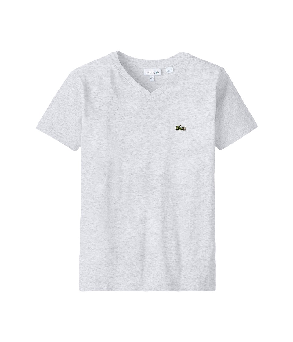 Lacoste Kids - S/S Classic Jersey V-Neck Tee (Toddler/Little Kids/Big Kids) (Dust Grey) Boy's Short Sleeve Pullover