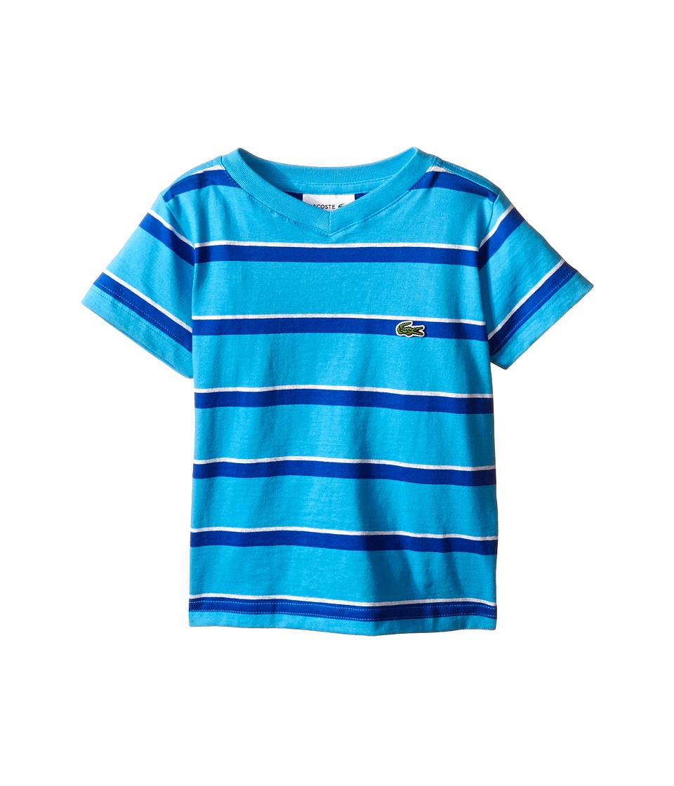 Lacoste Kids - Short Sleeve Stripe V-Neck Tee Shirt (Toddler/Little Kids/Big Kids) (Fiji/Aviator/Dust) Boy's Short Sleeve Pullover