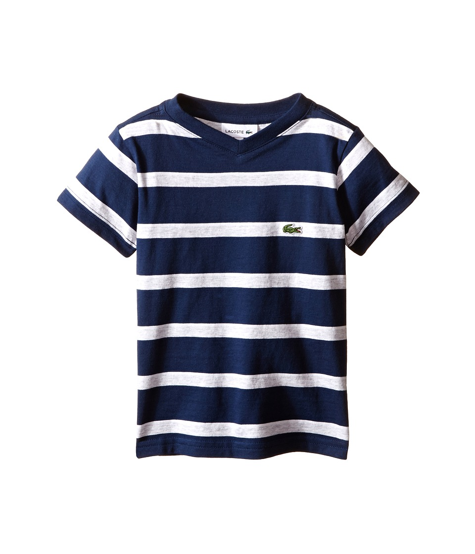 Lacoste Kids - Short Sleeve Stripe V-Neck Tee Shirt (Toddler/Little Kids/Big Kids) (Ship/Dust/White) Boy's Short Sleeve Pullover