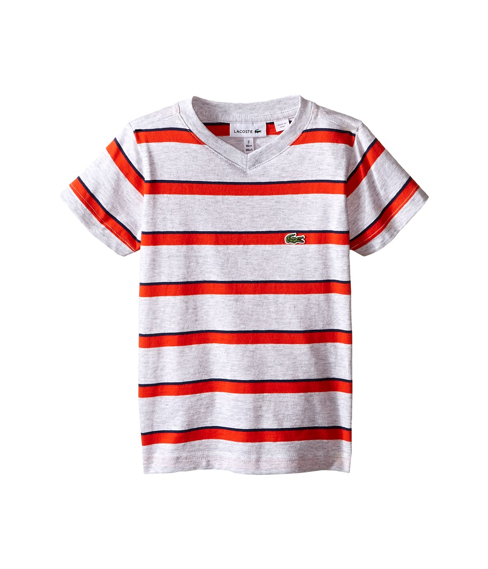 Lacoste Kids - Short Sleeve Stripe V-Neck Tee Shirt (Toddler/Little Kids/Big Kids) (Dust/Etna Red/Ship) Boy's Short Sleeve Pullover