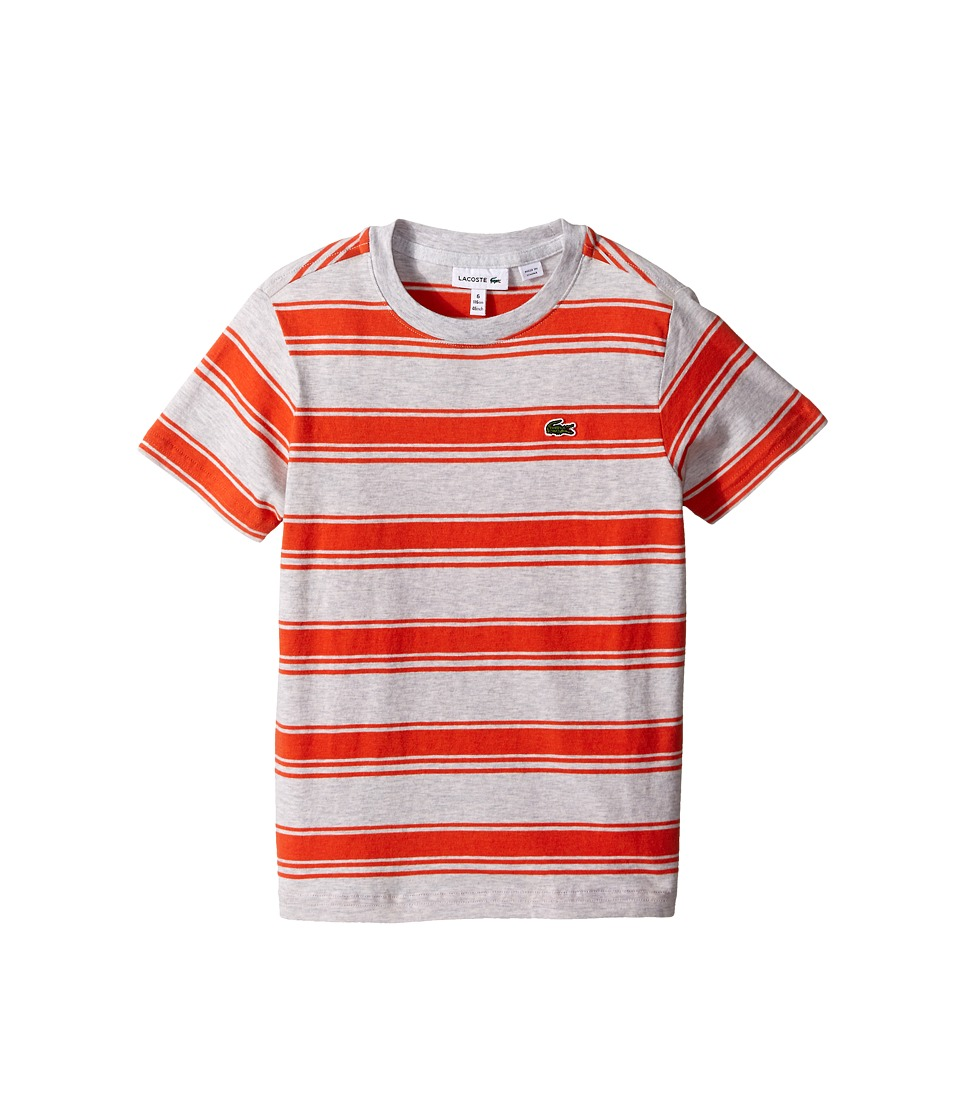 Lacoste Kids - Short Sleeve Heathered Stripe Crew Neck Tee Shirt (Toddler/Little Kids/Big Kids) (Mango Tree Red Chine/Dust) Boy's T Shirt