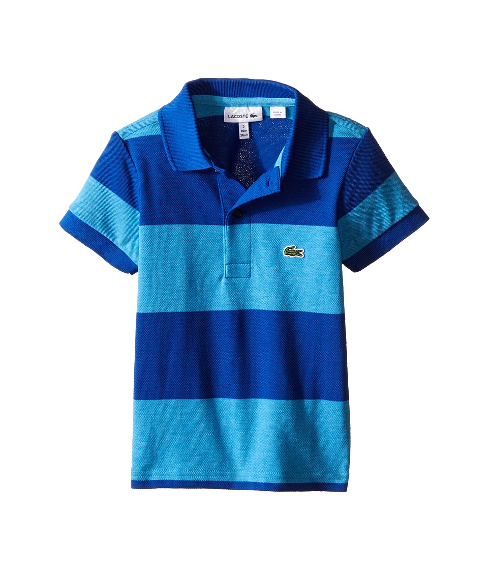 Lacoste Kids - Short Sleeve Bold Stripe Pique Polo (Infant/Toddler/Little Kids/Big Kids) (Fidji Blue Chine/Aviator) Boy's Short Sleeve Knit