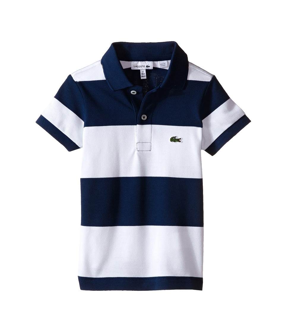 Lacoste Kids - Short Sleeve Bold Stripe Pique Polo (Infant/Toddler/Little Kids/Big Kids) (Ship Blue/White) Boy's Short Sleeve Knit
