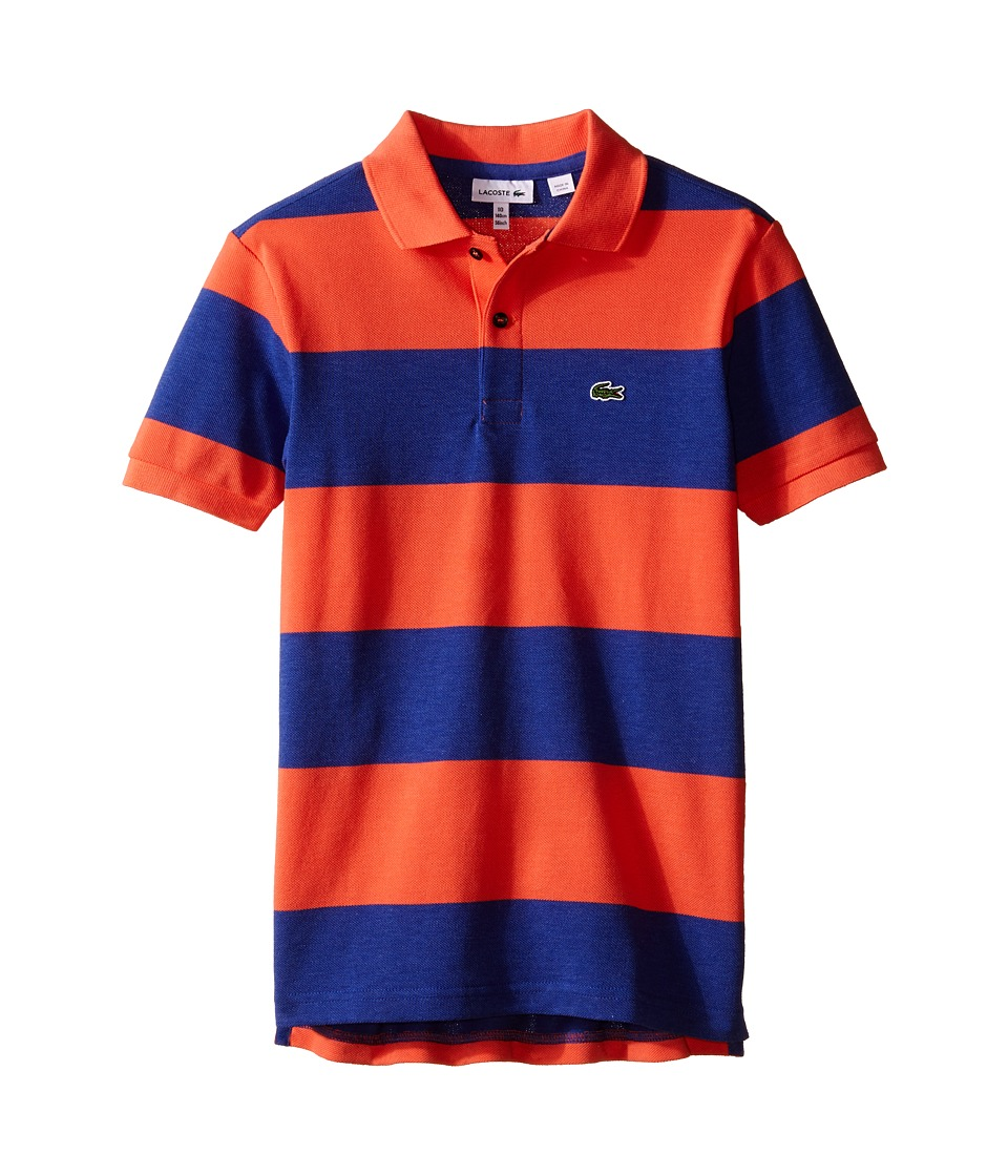 Lacoste Kids - Short Sleeve Bold Stripe Pique Polo (Infant/Toddler/Little Kids/Big Kids) (Explorer Blue Chine/Mango Tree Red) Boy's Short Sleeve Knit