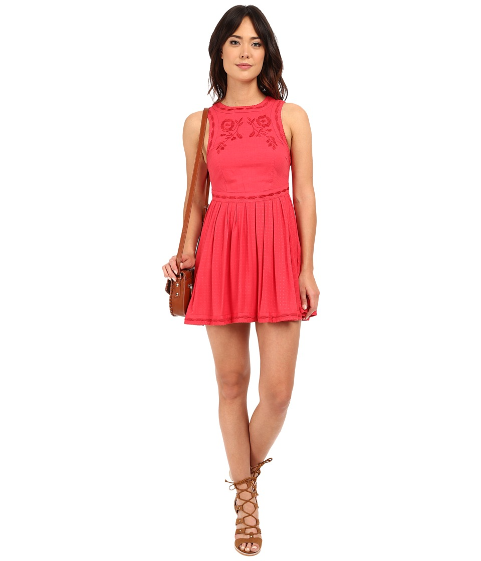 Free People Birds of A Feather Mini Dress (Paradise Coral) Women