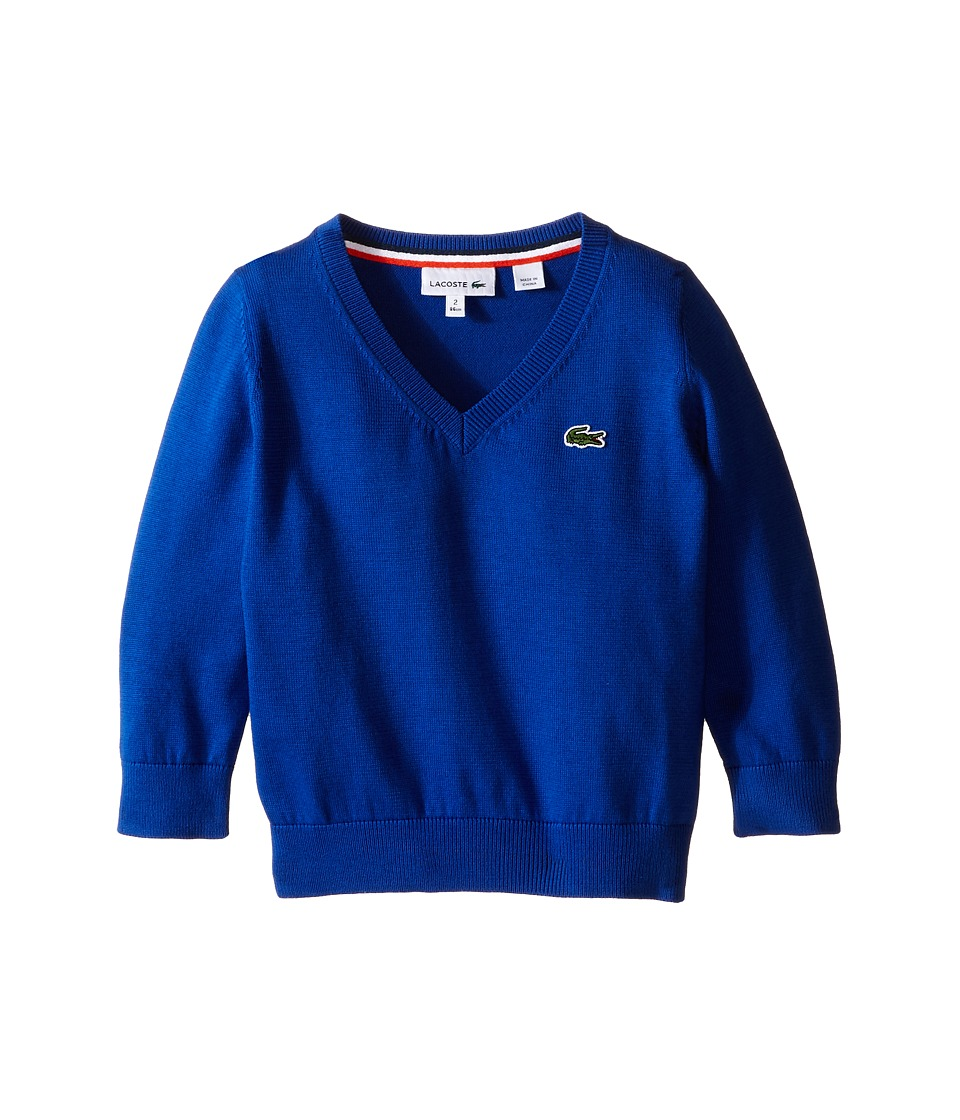 Lacoste Kids - 100% Cotton V-Neck Sweater (Toddler/Little Kids/Big Kids) (Aviator) Boy's Sweater