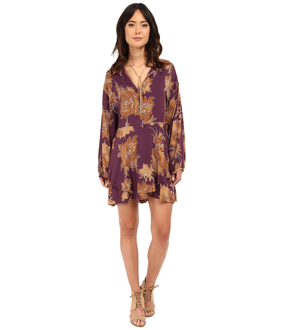 Free People - Shake It Printed Mini Dress (Berry Combo) Women's Dress