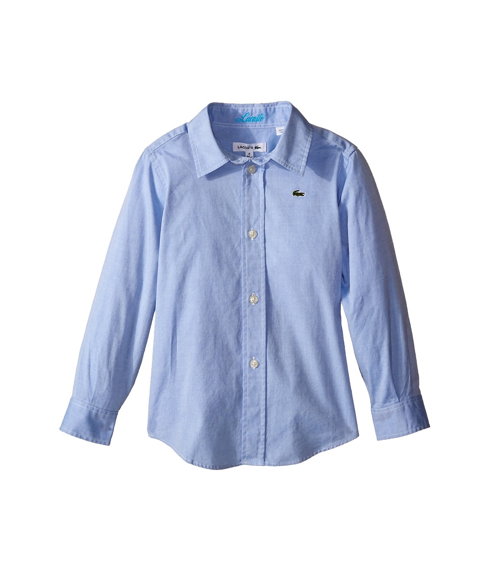 Lacoste Kids - Long Sleeve Oxford Woven Shirt (Little Kids/Big Kids) (Rill Light Blue) Boy's Clothing