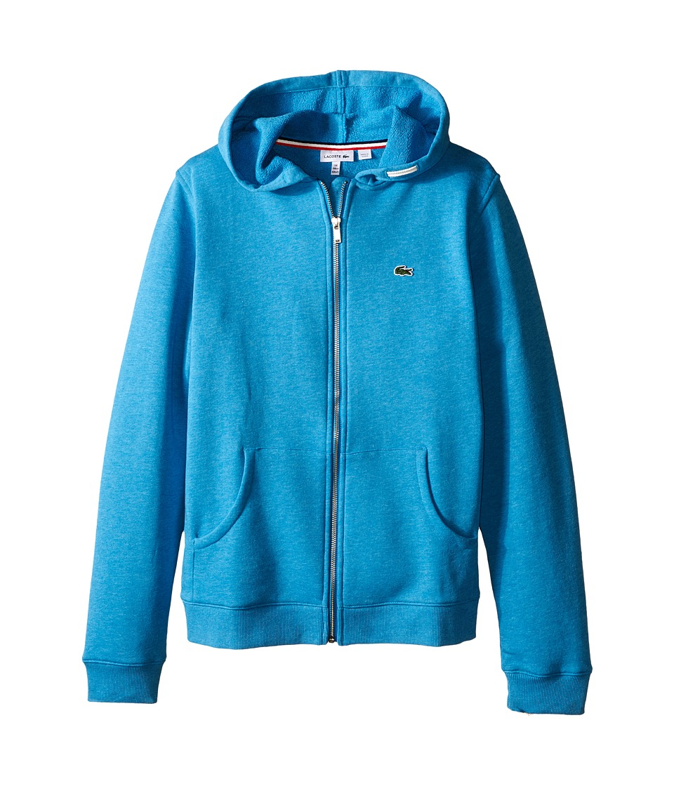 Lacoste Kids - Full Zip Chine Fleece Sweatshirt (Infant/Toddler/Little Kids/Big Kids) (Fidji Blue Chine) Boy's Sweatshirt