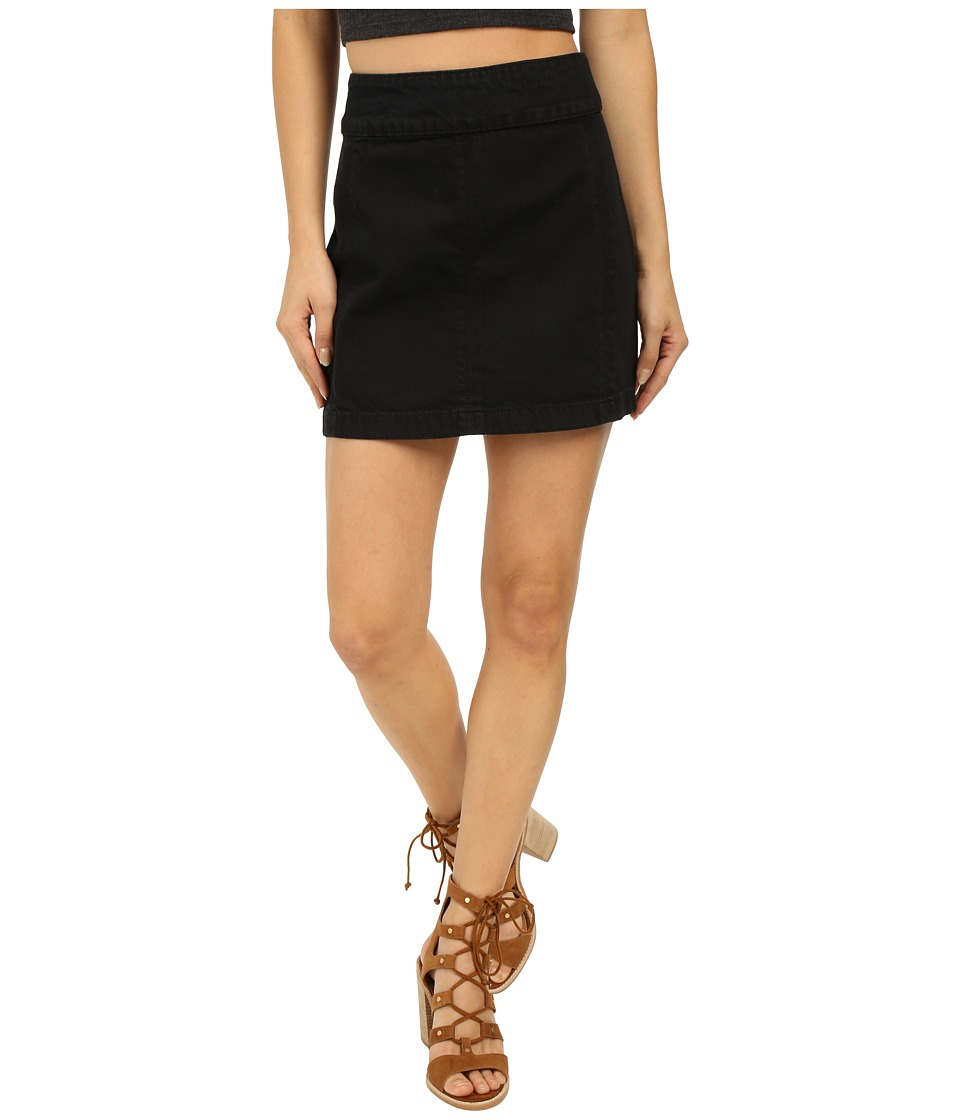 Free People - Zip To It Denim Mini Skirt (Black Combo) Women