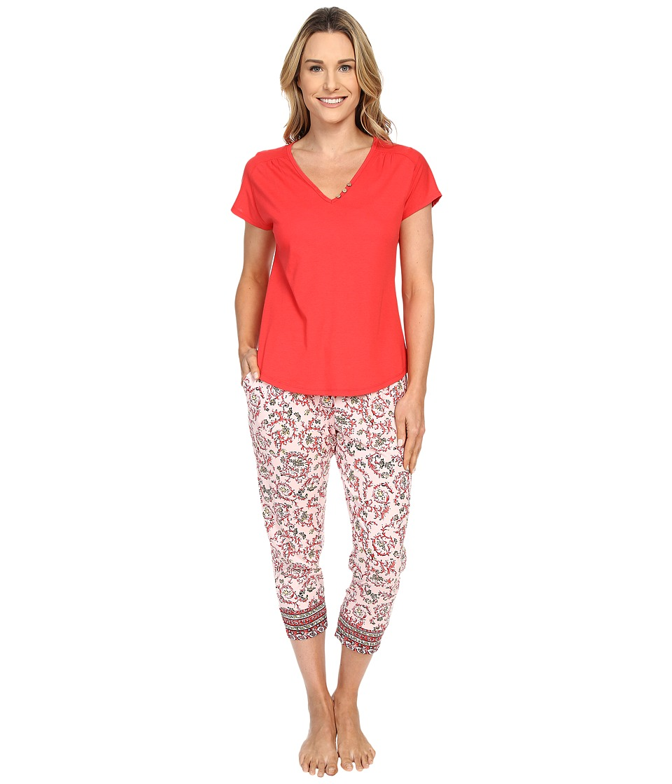 Lucky Brand - Tee-Jay Pajama Set (Ivy Woodblock Chili) Women's Pajama Sets