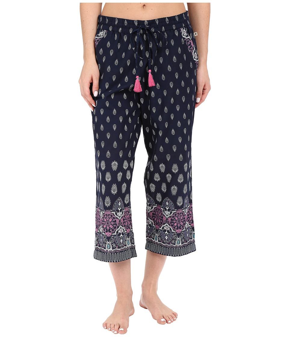 Lucky Brand - Woven Crop Pants (Astral Border Indigo) Women's Pajama
