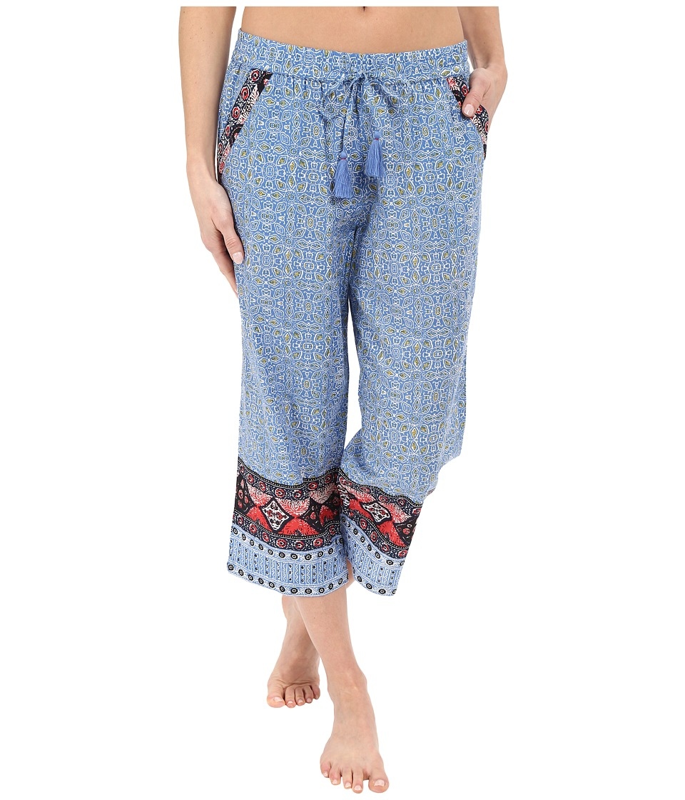 Lucky Brand - Woven Crop Pants (Batik Floral Blue) Women's Pajama