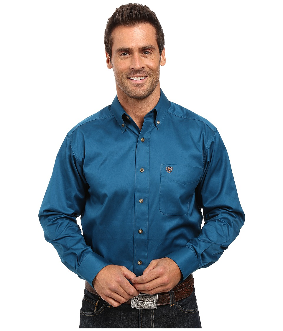 Ariat - Solid Twill Shirt (Moroccan Blue) Men's Long Sleeve Button Up