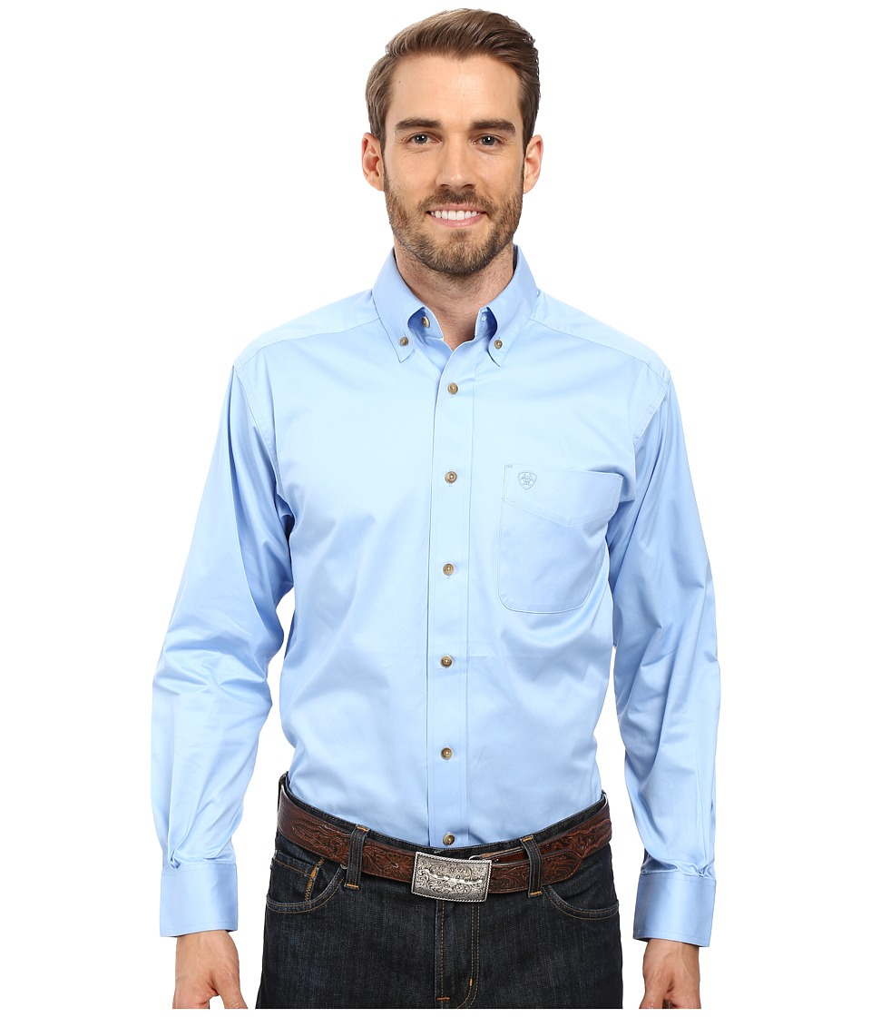 Ariat - Solid Twill Shirt (Noon Sky) Men's Long Sleeve Button Up