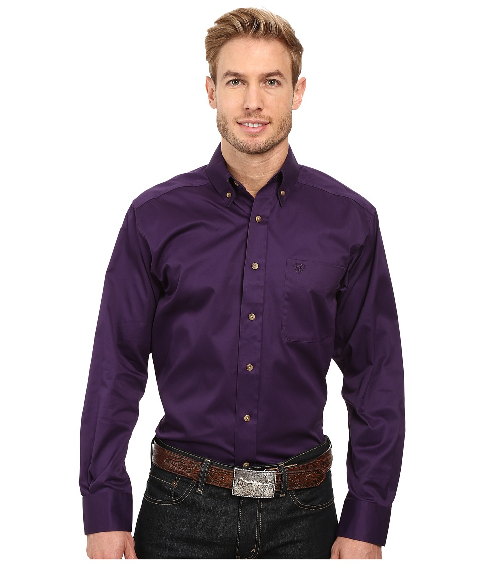 Ariat - Solid Twill Shirt (Black Iris) Men's Long Sleeve Button Up