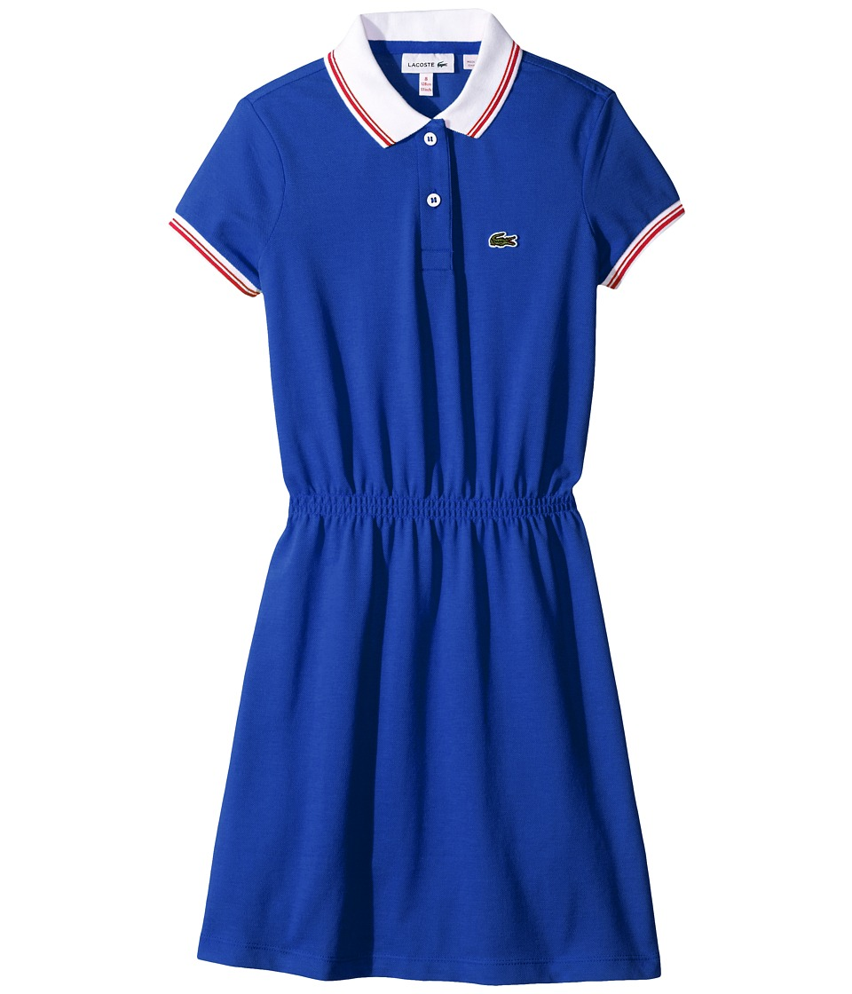 Lacoste Kids - Short Sleeve Vintage Tipped Polo Dress (Toddler/Little Kids/Big Kids) (Explorer Blue/White/Sandalwood) Girl's Dress