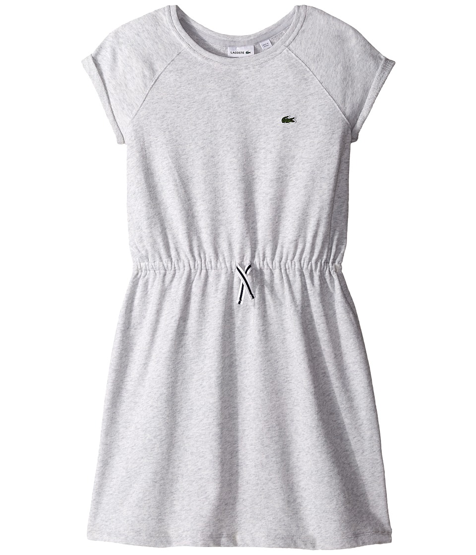 Lacoste Kids - Short Sleeve Light Fleece Drawstring Dress with Raglan Detail (Toddler/Little Kids/Big Kids) (Dust Grey) Girl's Dress