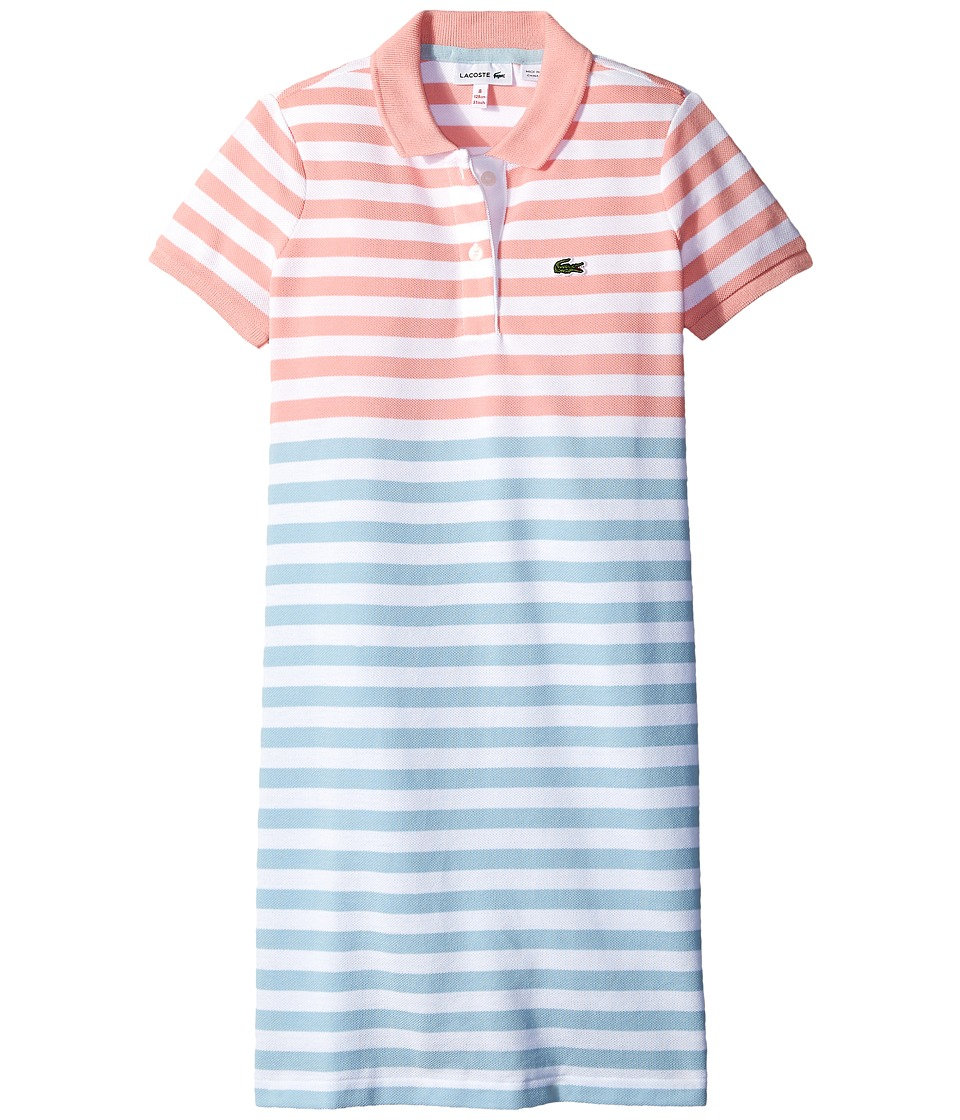 Lacoste Kids - Short Sleeve Striped Polo Dress (Toddler/Little Kids/Big Kids) (White/Polar Blue/Ballet Pink) Girl's Dress