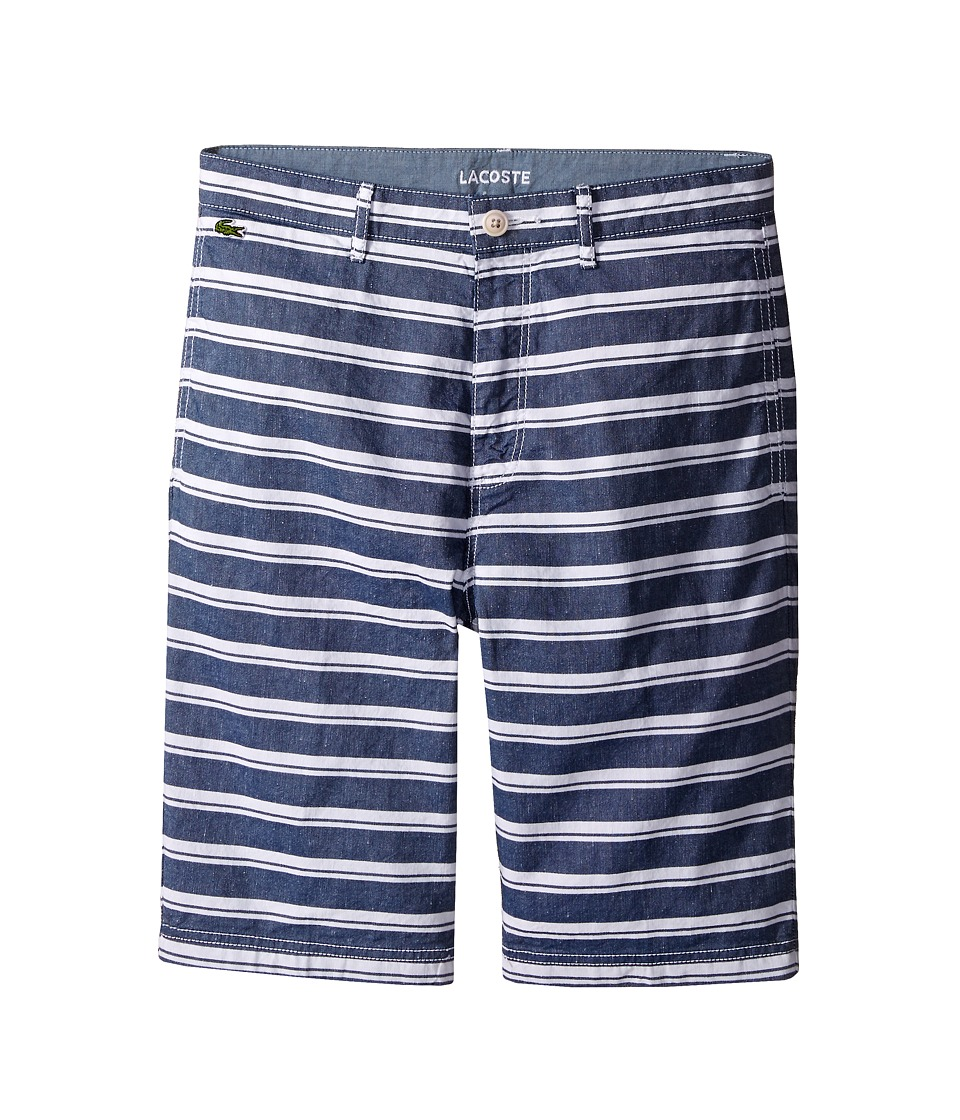 Lacoste Kids - Cotton and Linen Stripe Chambray Bermuda Shorts (Little Kids/Big Kids) (Dark Aviator/White) Boy's Shorts