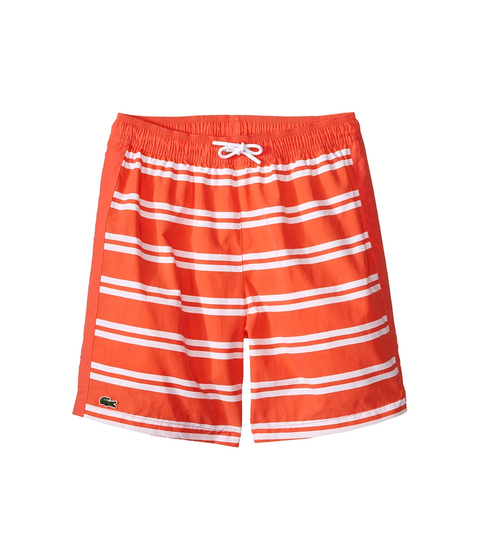 Lacoste Kids - Striped Swim Shorts (Little Kids/Big Kids) (Mango Tree Red/White) Boy's Swimwear
