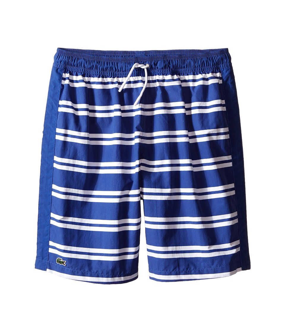 Lacoste Kids - Striped Swim Shorts (Little Kids/Big Kids) (Explorer Blue/White) Boy's Swimwear