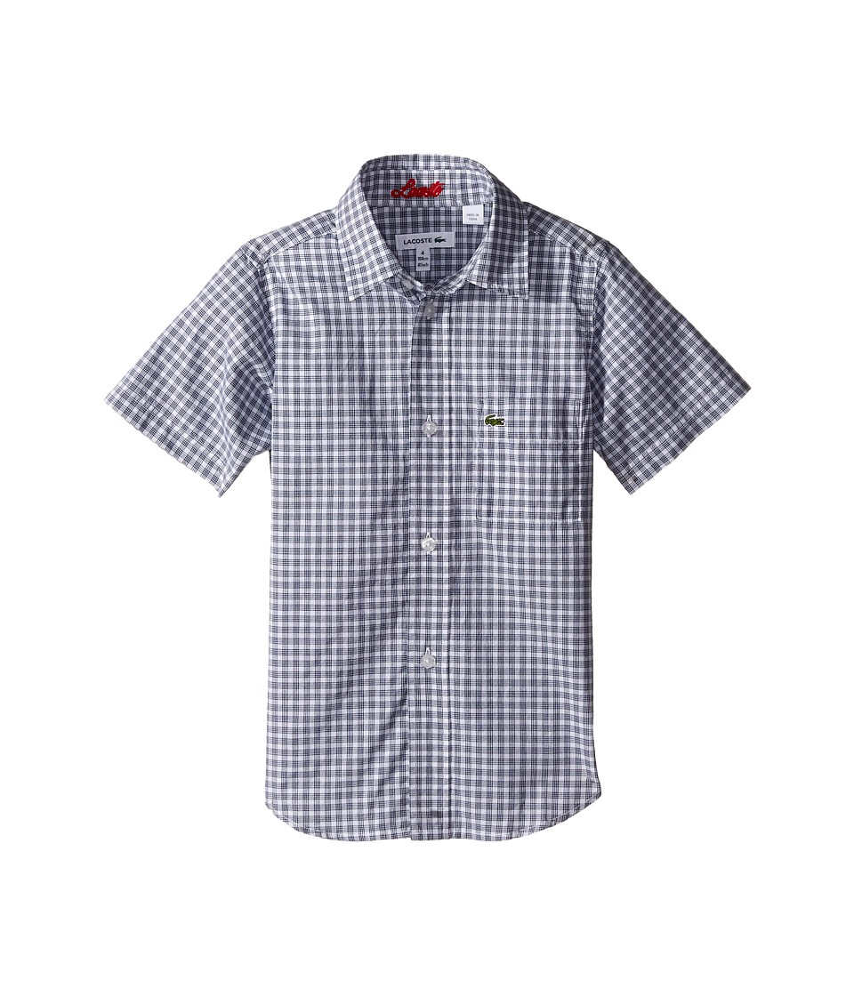 Lacoste Kids - Short Sleeve Gingham Check Woven Shirt (Little Kids/Big Kids) (White/Ship Blue) Boy's Clothing