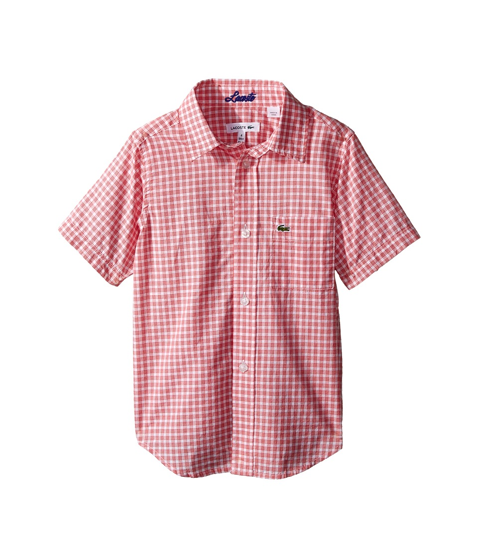 Lacoste Kids - Short Sleeve Gingham Check Woven Shirt (Little Kids/Big Kids) (White/Etna Red) Boy's Clothing