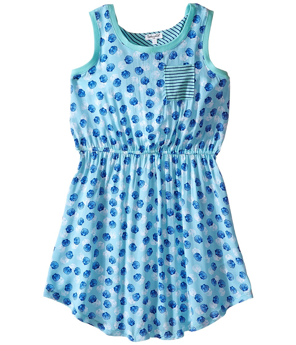 Splendid Littles - All Over Print Layered Dress (Big Kids) (Aqua) Girl's Dress