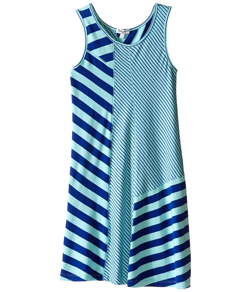 Splendid Littles - Striped Yarn Dye Tank Dress (Big Kids) (Aqua) Girl's Dress