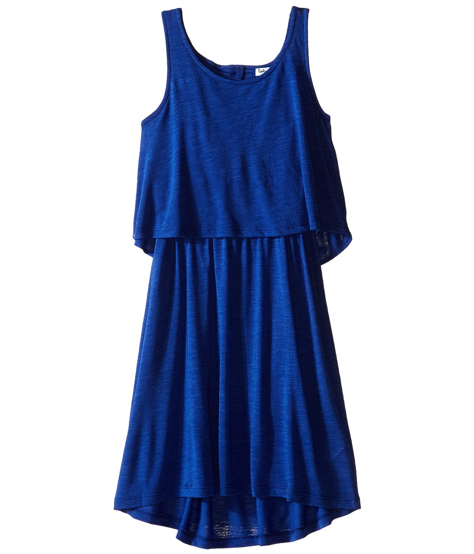 Splendid Littles - A Line Dress with Button Detail (Big Kids) (Royal Blue) Girl's Dress