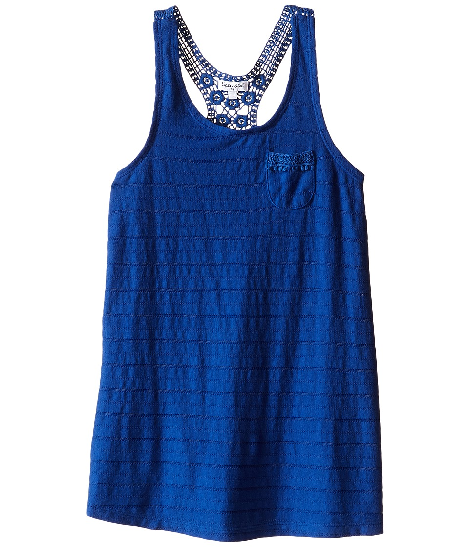 Splendid Littles - Leno Stripe Tank Top with Lace (Big Kids) (Royal Blue) Girl's Sleeveless