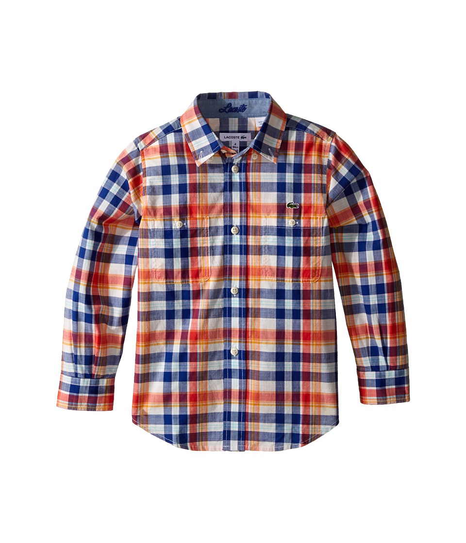 Lacoste Kids - Long Sleeve Madras Woven Shirt (Little Kids/Big Kids) (Print) Boy's Clothing